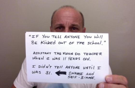 """""""Als je het aan iemand vertelt, word je van school geschopt"""" - Assistente taekwondo leraar, toen ik 11 jaar oud was. Ik heb het tot mijn 31e aan niemand verteld. Schaamte en schguldgevoel."""