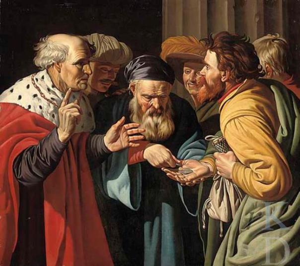 Judas ontvangt de zilverlingen van het Sanhedrin